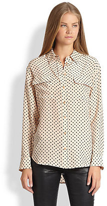 Equipment Signature Angelica Silk Heart-Print Shirt