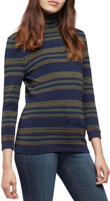 L'Agence Harlee 3/4-Sleeve Striped Turtleneck Top
