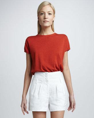Magaschoni High-Waist Linen Shorts