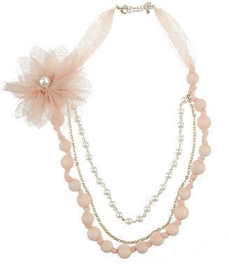 Forever 21 Mesh Flower Pearl Necklace