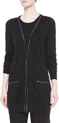 Badgley Mischka Shimmery Long Cardigan Sweater, Black