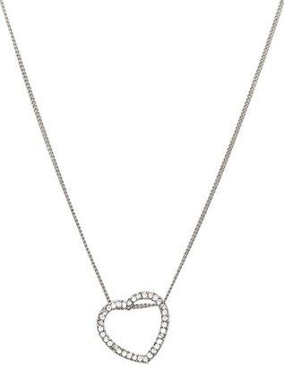 Silver Rhinestone Open Heart Necklace
