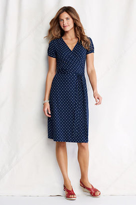 Lands' End Women's Regular Short Sleeve Pattern Cotton Modal Wrap Dress
