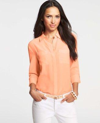 Ann Taylor Petite Silk Camp Shirt