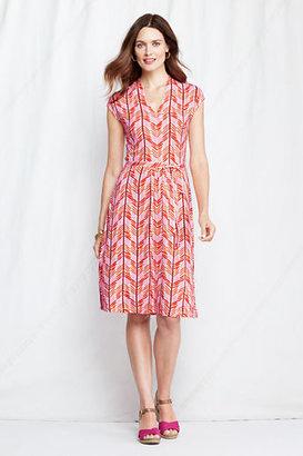 Lands' End Women's Petite Cap Sleeve Rayon Spandex Fluteneck Dress