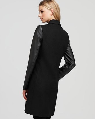Aqua Solid Faux Leather Sleeve Coat