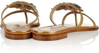 Oscar de la Renta Wissy Flo embellished patent-leather sandals