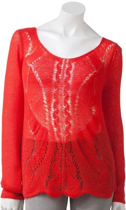 Lauren Conrad pointelle lurex sweater