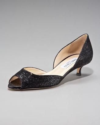 Jimmy Choo Lyon Glittered Kitten Heel d'Orsay