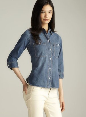 7 For All Mankind Seven7 Two Pocket 3/4-Sleeve Denim Shirt