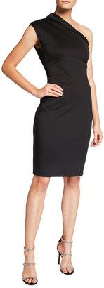 Badgley Mischka Asymmetric High-Neck One-Shoulder Dress