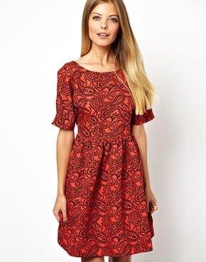 Asos Smock Dress In Red Paisley Jacquard - Red