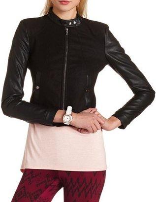 Charlotte Russe PU Sleeve Wool Bomber Jacket