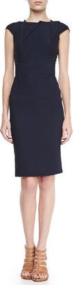 Roland Mouret Brownlow Folded Double-Crepe Dress, Navy