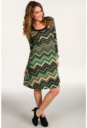 Karen Kane Flare Sleeve Chevron Dress (Print) - Apparel