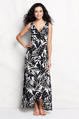Lands' End Women's Petite Print Fit and Flare Maxi Dress