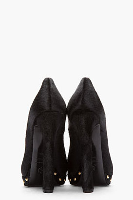 Alexander McQueen Black Calf-Hair Peep-Toe Lace Punk Skull Pumps