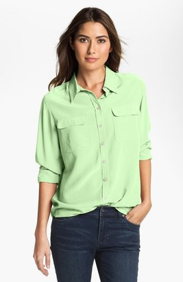 Vince Camuto Two by Silk Utility Shirt Mild Mint Medium