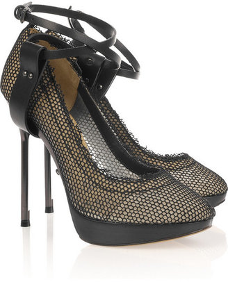 Lanvin Leather-strapped fishnet and mesh pumps