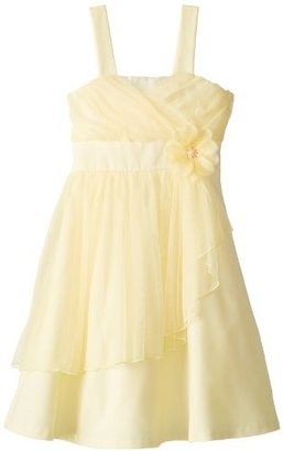 Bonnie Jean Big Girls' Sleeveless Linin Dress with Sparkle Mesh Bodice