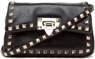Valentino Rockstud Flap Bag in Black