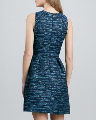Shoshanna Jewel-Neck Sleeveless Jacquard Dress