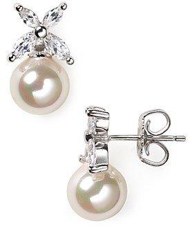 Majorica Flower and Simulated Pearl Stud Earrings