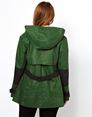 Asos Contrast Trench With Hood