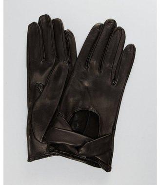 All Gloves black leather crisscross front gloves