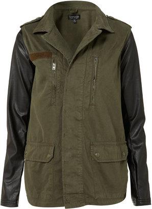 Topshop Contrast Sleeve Army Jacket