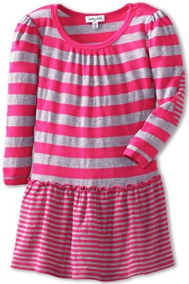 Splendid Littles Heather Grey Thermal Stripe Dress (Toddler) (Bright Geranium) - Apparel