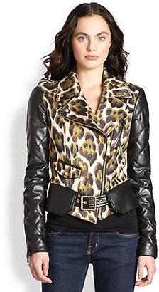 Just Cavalli Leather-Sleeve Sateen Biker Jacket
