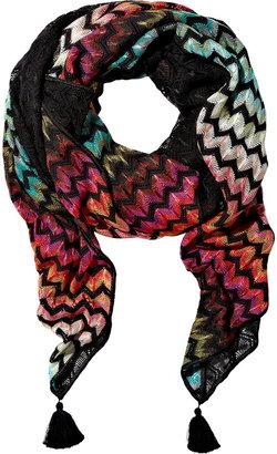 Missoni Crochet-knit zigzag scarf