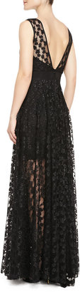 Milly Alexa Lace Illusion Gathered-Skirt Gown
