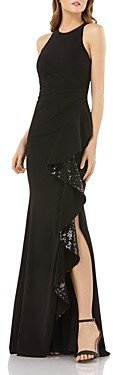Carmen Marc Valvo Sequined Ruffle Crepe Gown