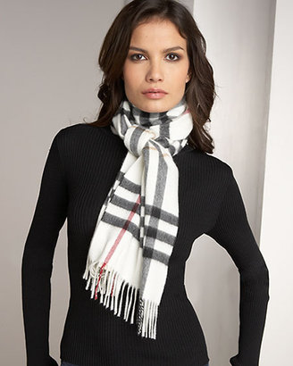 Burberry Giant Check Scarf, Ivory
