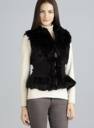 Patrizia Luca Ribbed Knit Waist Fur Zip Vest