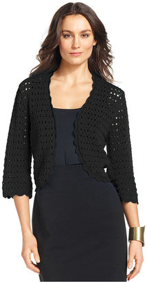 Alfani Sweater, Three-Quarter-Sleeve Crochet Cardigan