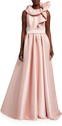 Badgley Mischka Asymmetric Ruffle-Neck Ball Gown