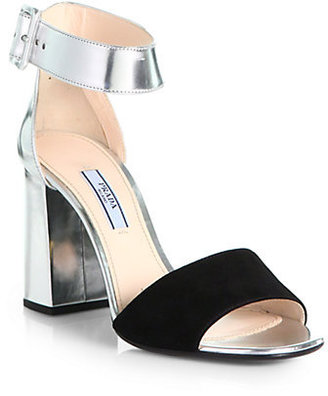 Prada Suede & Metallic Leather Ankle-Strap Sandals