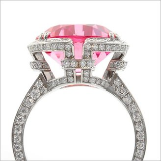 Tiffany & Co. excellent (EX .950 Platinum 8.02ctw Cushion Cut Pink Spinel 1.15ctw Diamond Ring sz 6.25