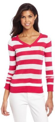 Southpole Juniors Threefer Pullover Striped Sweater With Scarf And Hat