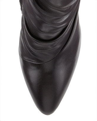 Giuseppe Zanotti Pleated Peak Leather Bootie, Nero