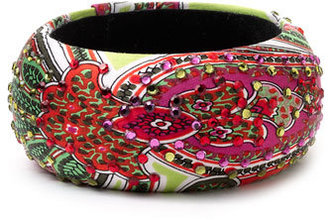 Cara Accessories Silk Wrapped Paisley Bangle