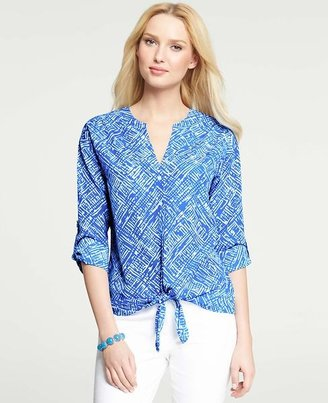 Ann Taylor Exotic Print Tie Front Rolled Sleeve Blouse