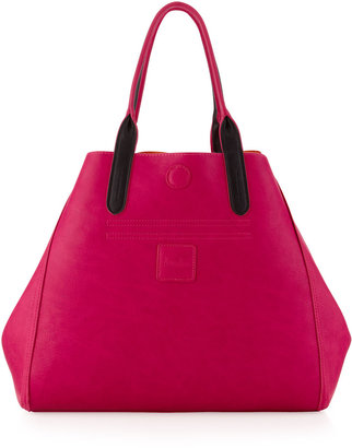 Neiman Marcus Reversible Two-Tone Patch Pocket Tote, Orange/Fuchsia