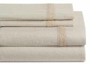 Distinctly Home Crochet Hem Four-Piece Flannel Sheet Set
