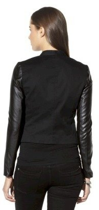 Mossimo Women's Faux Leather Sleeve Moto Jacket - Assorted Colors