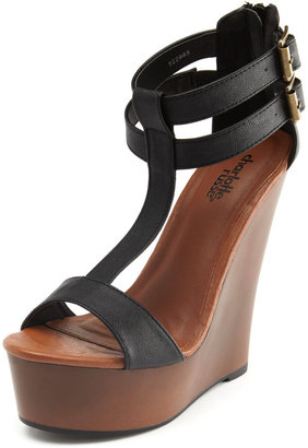 Charlotte Russe Black T-Strap Wooden Wedge