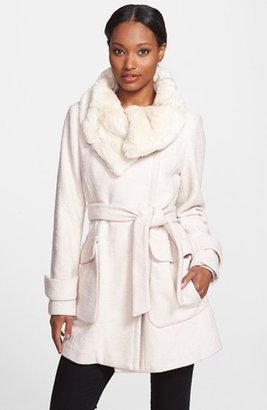 Ivanka Trump Faux Fur Collar Belted Asymmetrical Coat